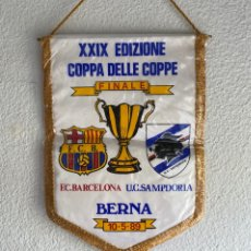 Collezionismo sportivo: BANDERÍN FINAL RECOPA 1989 BERNA SAMPDORIA Y FUTBOL CLUB BARCELONA BARÇA FCB - RARO. Lote 214559276