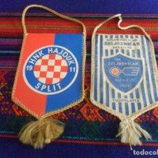 Coleccionismo deportivo: BANDERÍN KK ZELJEZNICAR SARAJEVO 1921 Y HNK HAJDUK SPLIT 1911. ORIGINALES. AÑOS 90. BOSNIA CROACIA.. Lote 216952141