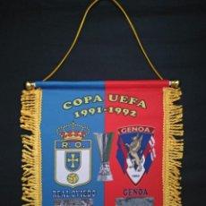Coleccionismo deportivo: BANDERÍN REAL OVIEDO-GENOVA COPA DE LA UEFA. Lote 218658192