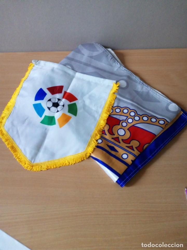 LOTE DE ESTANDARTE Y BANDERA DEL REAL MADRID (Coleccionismo Deportivo - Banderas y Banderines de Fútbol)