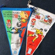 Coleccionismo deportivo: LOTE DOS BANDERINES GIOR CAMPEONATO DEL MUNDO DE FÚTBOL 1966. MÉXICO. CHILE.. Lote 218999726