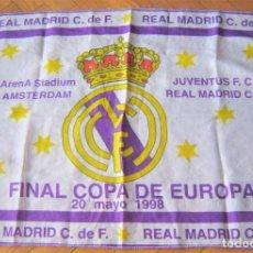 Coleccionismo deportivo: BANDERA FLAG FINAL CHAMPIONS REAL MADRID VS JUVENTUS TURIN 1998 72 X 50 NUEVA 100% DRAPEAU R27. Lote 219282623