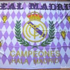 Coleccionismo deportivo: BANDERA FLAG REAL MADRID 6 COPAS EUROPA CHAMPIONS AÑOS' 80 118 X 85 BIEN CONSERVADA FLAGGE R30. Lote 219283250