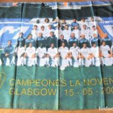 Coleccionismo deportivo: BANDERA FLAG REAL MADRID EQUIPO 2001-2 CREO OFICIAL 127X95 BIEN CONSERVADA FLAGGE DRAPEAU R31-R. Lote 219283495