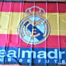 Coleccionismo deportivo: BANDERA FLAG REAL MADRID – LOGO + ESPAÑA 108 X 98 CM NUEVA NEW 100 % FLAGGE DRAPEAU R32-R. Lote 219283585