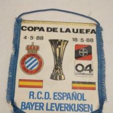 Coleccionismo deportivo: BANDERÍN COPA DE LA UEFA - R.C.D ESPAÑOL - BAYER LEVERKUSEN - 1988. Lote 221134230
