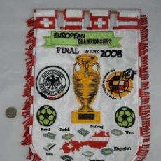Collezionismo sportivo: GRAN BANDERIN DE FUTBOL BORDADO Y ESCUDOS FINAL COPA DE EUROPA CHAMPIONSHIPS, ESPAÑA-ALEMANIA -2008. Lote 233574965
