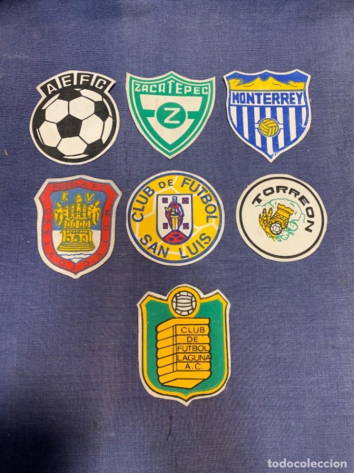 SIETE ESCUDOS TELA FUTBOL EQUIPOS MEJICO MEXICO SAN LUIS TORREON PUEBLA ZACATEPEC MONTERREY 9,5CM (Coleccionismo Deportivo - Banderas y Banderines de Fútbol)