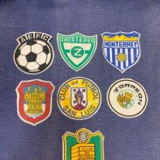 Collezionismo sportivo: SIETE ESCUDOS TELA FUTBOL EQUIPOS MEJICO MEXICO SAN LUIS TORREON PUEBLA ZACATEPEC MONTERREY 9,5CM. Lote 233643825