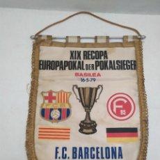 Coleccionismo deportivo: BANDERIN FINAL DE LA RECOPA DE BASILEA. 16.5.9. FUTBOL CLUB BARCELONA - DÜSSELDORFER. 31X43CM. Lote 235925145
