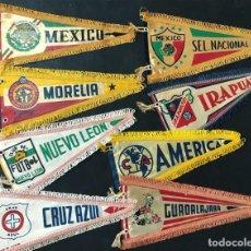 Collezionismo sportivo: 8 BANDERINES ( PEQUEÑOS ) CLUBS DE FUTBOL - MEXICO / AÑOS 60. Lote 241767795