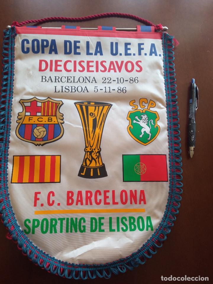 SPORTING LISBOA PORTUGAL FC FC BARCELONA 198 6BANDERIN PENNANT FOOTBALL FUTBOL BANDERIN BANDERIOLA (Coleccionismo Deportivo - Banderas y Banderines de Fútbol)