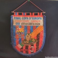 Coleccionismo deportivo: ANRMTIGUO BANDERIN . F.C BARCELONA VS AC.MILAN 18-5-94. Lote 245218485