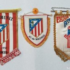 Coleccionismo deportivo: LOTE ANTIGUOS BANDERINES PEÑAS AT MADRID, PEÑA MUÑIZ, PEÑA ALCOBENDAS. Lote 245579195