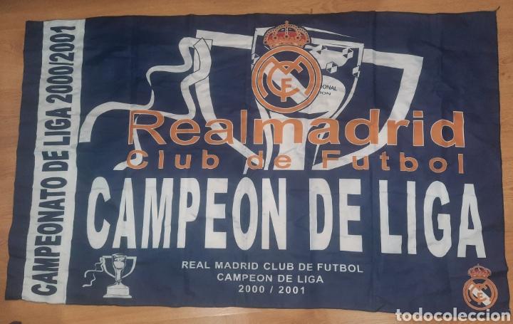 BANDERA,REAL MADRID,CAMPEÓN DE LIGA 00/01. (Coleccionismo Deportivo - Banderas y Banderines de Fútbol)