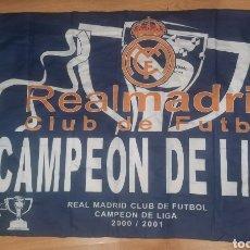 Coleccionismo deportivo: BANDERA,REAL MADRID,CAMPEÓN DE LIGA 00/01.. Lote 262206165