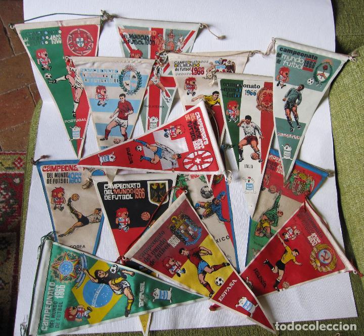 14 BANDERINES CAMPEONATO DEL MUNDO DE FUTBOL 1966 (Coleccionismo Deportivo - Banderas y Banderines de Fútbol)
