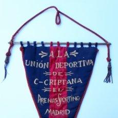 Coleccionismo deportivo: BANDERÍN DE 1930, DEL ARENAS SPORTING A LA UNIÓN DEPORTIVA C. CRIPTANA.. Lote 263197110