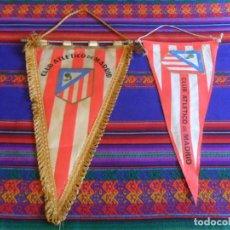 Coleccionismo deportivo: LOTE 2 BANDERÍN DE TELA CLUB ATLÉTICO DE MADRID. AÑOS 70. RAROS.. Lote 267340244