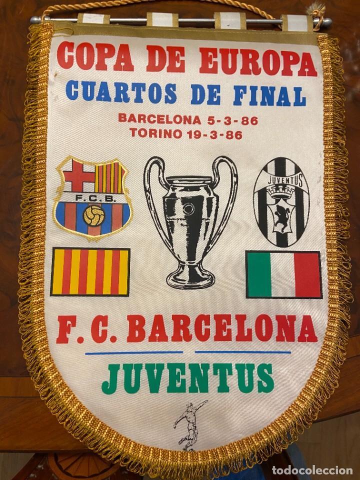 BANDERIN COPA DE EUROPA BARCELONA JUVENTUS BUEN ESTADO (Coleccionismo Deportivo - Banderas y Banderines de Fútbol)