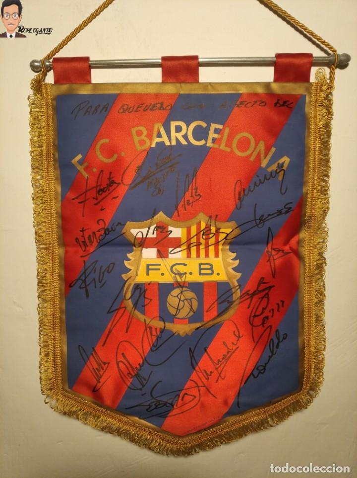 BANDERÍN FIRMADO F.C. BARCELONA - AUTÓGRAFOS 96 / 97 - RONALDO FIGO GUARDIOLA STOICHKOV ... (BARÇA) (Coleccionismo Deportivo - Banderas y Banderines de Fútbol)