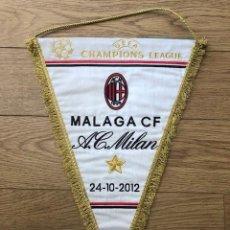 Coleccionismo deportivo: BANDERIN BORDADO ORIGINAL MALAGA CF VS AC MILAN CL 24-10-2012 (45CM X 34CM). Lote 269249338