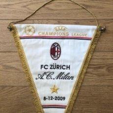 Coleccionismo deportivo: BANDERIN BORDADO ORIGINAL FC ZURICH VS AC MILAN CL 08-12-2009 (45CM X 34CM). Lote 269250963