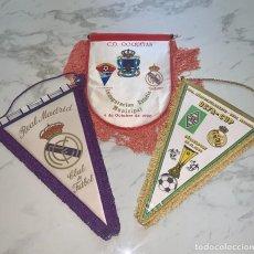 Collectionnisme sportif: LOTE 3 BANDERINES DE FÚTBOL DEL REAL MADRID - TAMAÑO GRANDE - AÑOS 80 - COPA UEFA Y OTROS -. Lote 274829903