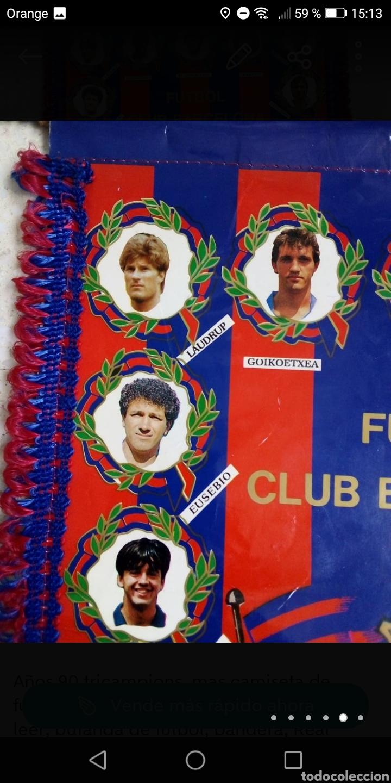 Coleccionismo deportivo: Banderin futbol fc Barcelona años 90 tricampions 44x30cm - Foto 2 - 278478853