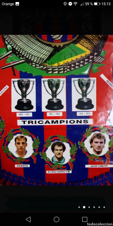 Coleccionismo deportivo: Banderin futbol fc Barcelona años 90 tricampions 44x30cm - Foto 4 - 278478853