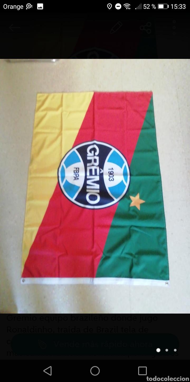 BANDERA FÚTBOL GREMIO 130 X85CM, EQUIPO DONDE JUGO RONALDINHO TELA DE CALIDAD DOBLE CARA (Coleccionismo Deportivo - Banderas y Banderines de Fútbol)