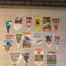 Coleccionismo deportivo: LOTE DE 15 SUPER BANDERINES OLIMPICOS DE BIMBO + CATALOGO ALBUM BANDERIN 1968 DEPORTES FUTBOL. Lote 285672418
