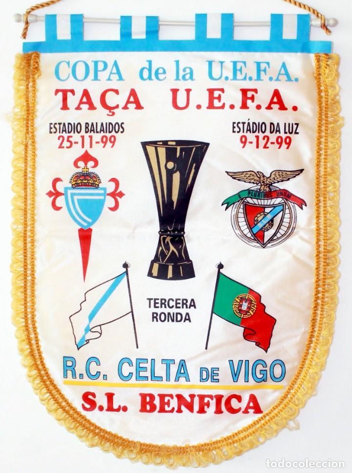 BANDERÍN CELTA - BENFICA AÑO 2000 UEFA (Coleccionismo Deportivo - Banderas y Banderines de Fútbol)