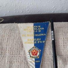 Coleccionismo deportivo: FINAL BASILEA 21/05/1969. BARÇA/SLOGAN BRATISLAVA.BANDERIN ORIGINAL.. Lote 294058603