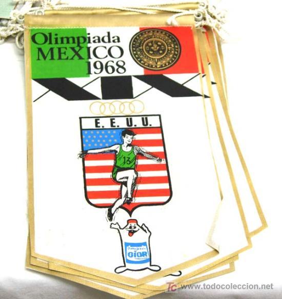 BANDERIN OLIMPIADA DE MEXICO 1968 - EEUU (Coleccionismo Deportivo - Banderas y Banderines otros Deportes)