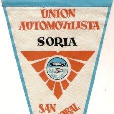 Coleccionismo deportivo: BANDERIN UNION AUTOMOVILISTA SAN CRISTOBAL. SORIA 1962. 28 X 13 CM.. Lote 8612559