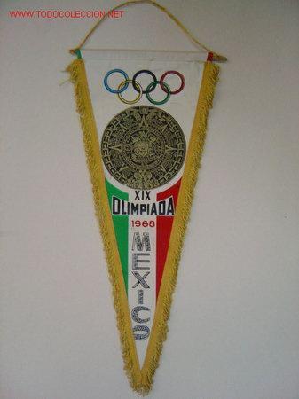 BANDERIN - XIX OLIMPIADAS - MEXICO 1968 (Coleccionismo Deportivo - Banderas y Banderines otros Deportes)