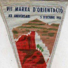 Coleccionismo deportivo: BANDERIN CLUB EXCURSINISTA CATALUNYA VII MARXA D'ORIENTASIO XX ANIVERSARI MATADEPERA CAN PINETO 1952. Lote 25347516
