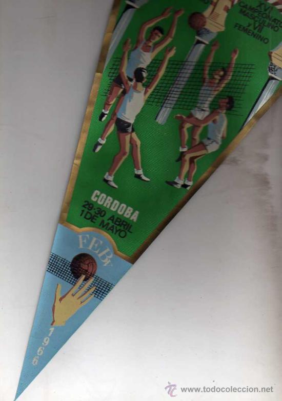 Coleccionismo deportivo: Banderin Federacion cordobesa balonvolea. Copa del Generalisimo. XVI campeonato. 1966 - Foto 2 - 33815180