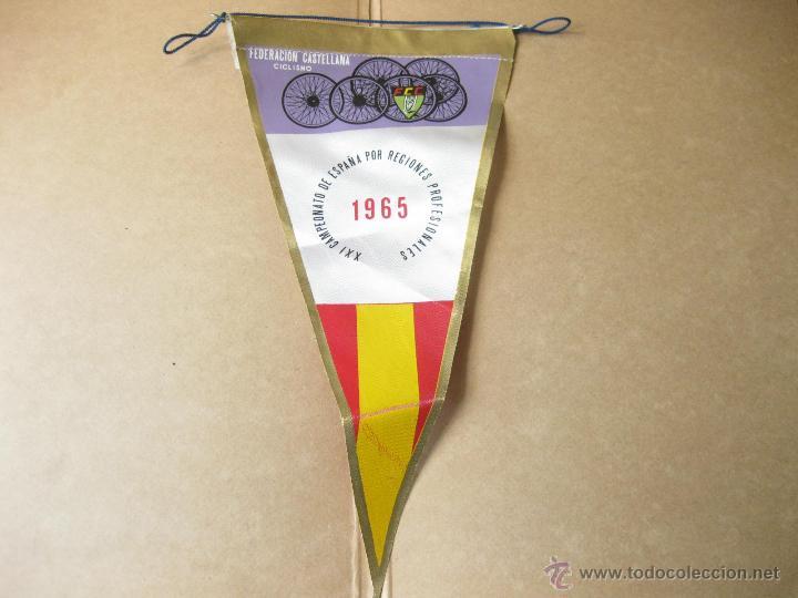 BANDERIN DE LA FEDERACION CASTELLANA DE CICLISMO - XXI CAMPEONATO DE ESPAÑA POR REGIONES - 1965 (Coleccionismo Deportivo - Banderas y Banderines otros Deportes)