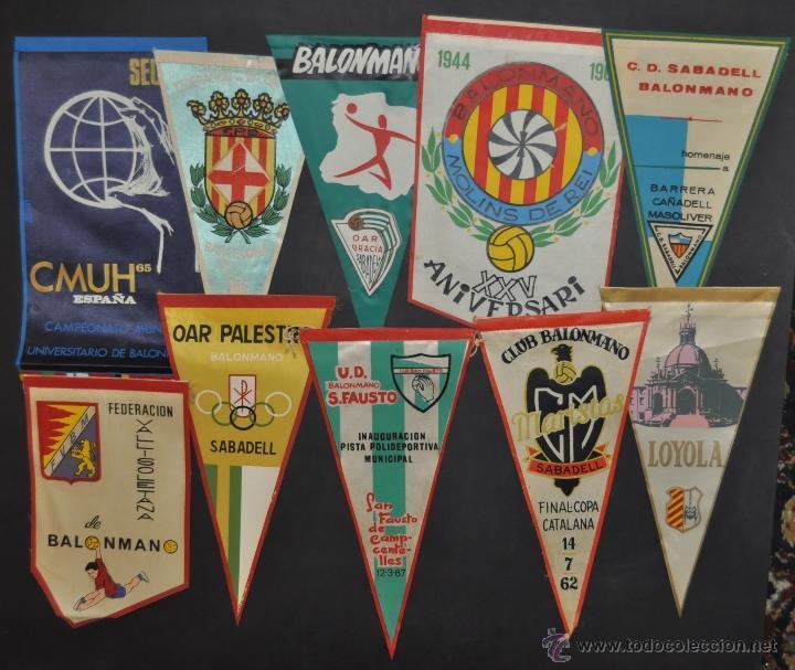 LOTE DE 9 BANDERINES DE BALONMANO. CLUBES Y FEDERACIONES (Coleccionismo Deportivo - Banderas y Banderines otros Deportes)