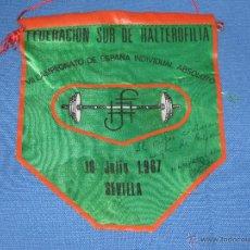 Coleccionismo deportivo: SEVILLA - BANDERIN VII CAMPEONATO ESPAÑA INDIVIDUAL ABSOLUTO - 1967 - HALTEROFILIA - FEDERACION SUR. Lote 45230490