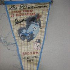 Colecionismo desportivo: BANDERIN .- LAS 20 PROVINCIAS.- PRIMERA GRAN PRUEBA REGULARIDAD VESPA.- SEPTIEMBRE 1958.- DIFICIL.. Lote 47979315