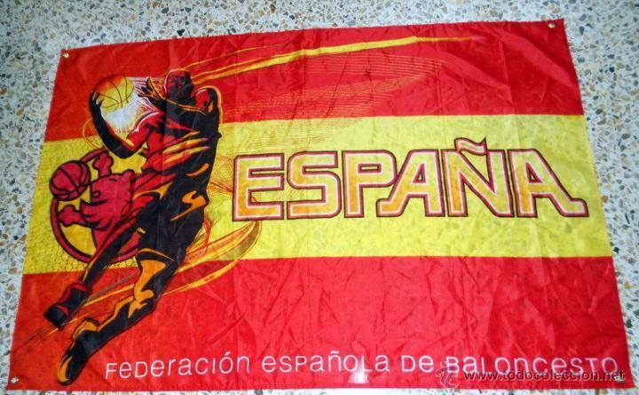 BANDERA FLAG BANDIERA ESPAÑA BALONCESTO BASKETBALL OFICIAL FEDERACION ESPAÑOLA BASKET (Coleccionismo Deportivo - Banderas y Banderines otros Deportes)
