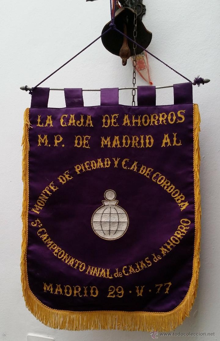 GRAN BANDERIN BORDADO, 5º CAMPEONATO NACIONAL DE CAJAS DE AHORROS, MADRID 29-V-77, MIDE 57X41 CNTS (Coleccionismo Deportivo - Banderas y Banderines otros Deportes)