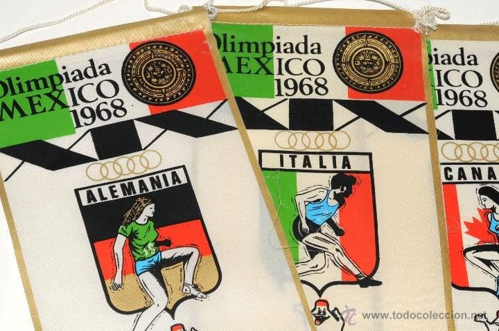 Coleccionismo deportivo: BANDERINES OLIMPIADA MEXICO 1968 ALEMANIA ITALIA CANADA ARGENTINA PROPAGANDA GIOR - Foto 2 - 49652793