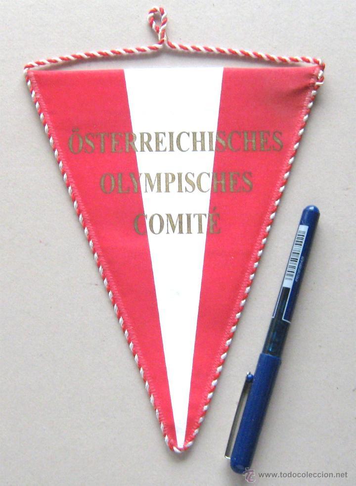 BANDERIN PENNANT OSTEERREICHISCHES OLYMPISCHES COMITE AUSTRIA 19 X 15 CM BUEN ESTADO OLIMPICO (Coleccionismo Deportivo - Banderas y Banderines otros Deportes)