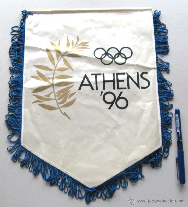 BANDERIN PENNANT ATHENS 1996 96 GRECIA OLIMPICO ATENAS 37 X 28 CM BUEN ESTADO (Coleccionismo Deportivo - Banderas y Banderines otros Deportes)