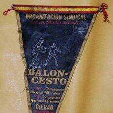 Coleccionismo deportivo: BANDERIN - BALONCESTO XXIV CAMPEONATO NACIONAL MASCULINO XV CAMPEONATO NACIONAL FEMENINO BILBAO 1970. Lote 50824572