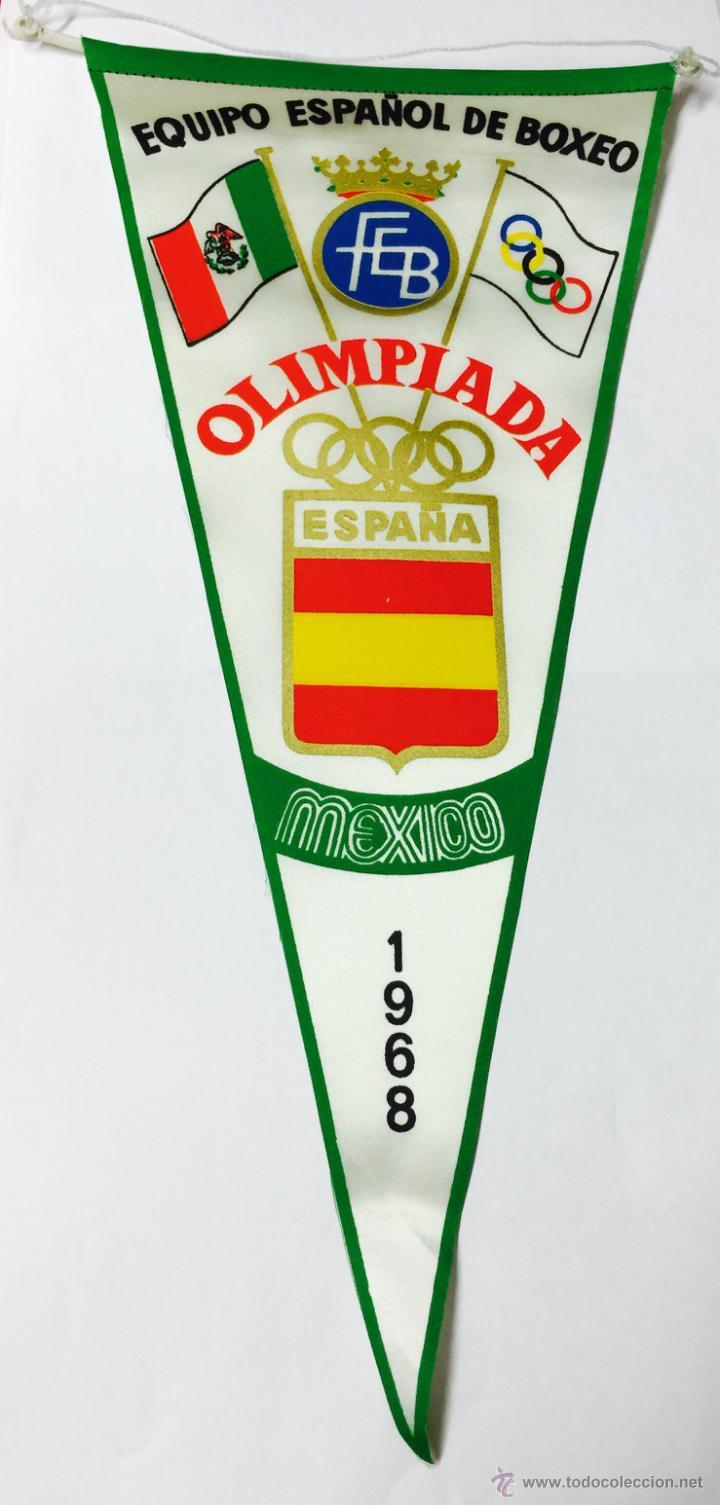 BANDERÍN DE BOXEO - EQUIPO OLÍMPICO ESPAÑOL MÉXICO 1968 - OLIMPIADA (Coleccionismo Deportivo - Banderas y Banderines otros Deportes)